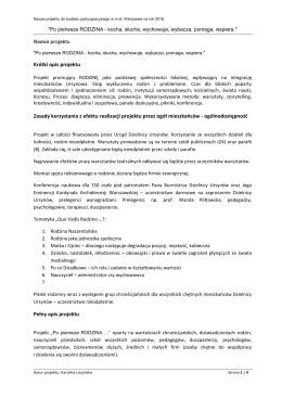 Krótki opis projektu Zasady korzystania z efektu realizacji projektu