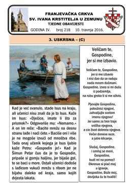 Tjedni listić br. 218 - samostan sv. ivana krstitelja zemun
