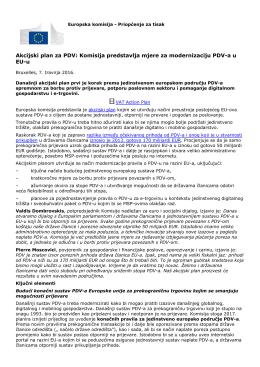 Akcijski plan za PDV: Komisija predstavlja mjere za