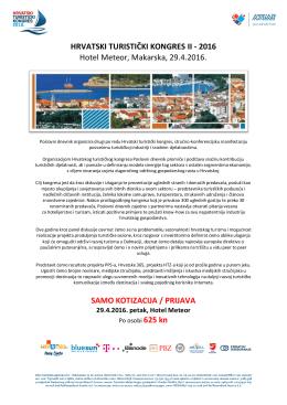 HRVATSKI TURISTIČKI KONGRES II - 2016 Hotel Meteor, Makarska, 29.4