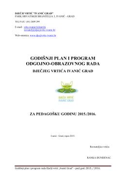 godišnji plan i program odgojno-obrazovnog rada