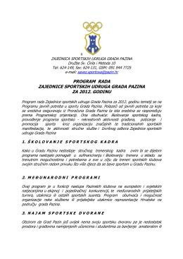 Program rada i Financijski plan Zajednice sportskih