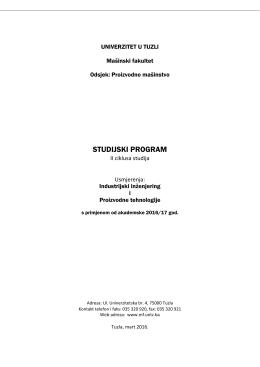 studijski program - Mašinski fakultet