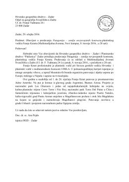Hrvatsko geografsko društvo – Zadar Odjel za geografiju Sveučilišta