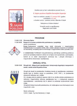 Program Devetog sajma poslova Osječko