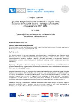 Potpisan ugovor o dodjeli bespovratnih sredstava za projekt