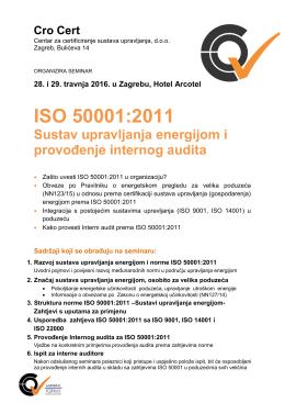 Saznaj više Prijavnica za seminar ISO 50001