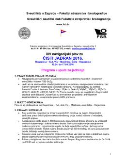 Plov za čisti Jadran 2016 - Program i upute za jedrenje