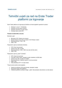 Tehnički uvjeti za rad na Erste Trader platformi za trgovanje