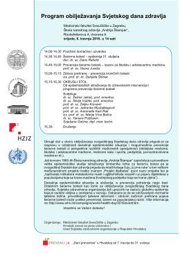 Program obilježavanja Svjetskog dana zdravlja 2016
