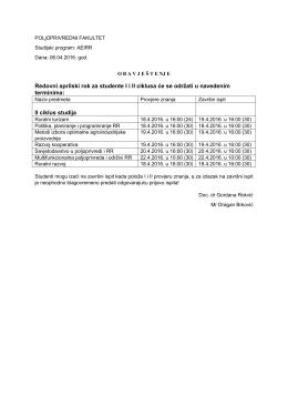 12.04.Redovni aprilski rok – Doc. dr Gordana Rokvić, Mr Dragan