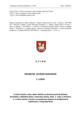 Návrh VZN č. 1/2016 o určení miesta a času zápisu