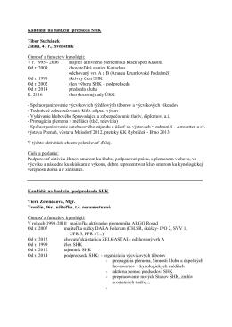 zoznam kandidátov na funkcie do výboru
