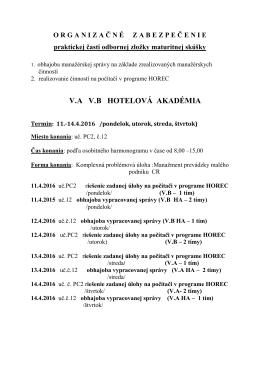 Harmonogram praktickej časti odbornej zložky maturitnej skúšky
