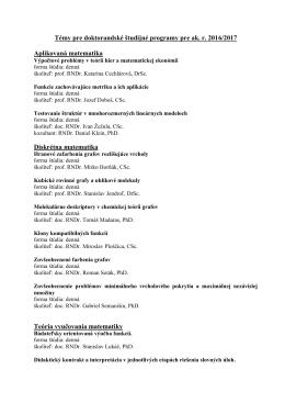 Témy pre doktorandské študijné programy pre ak. r. 2016/2017