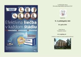 X. Lymfologický deň, 28. apríl 2016, Hotel Slovan, Tatranská