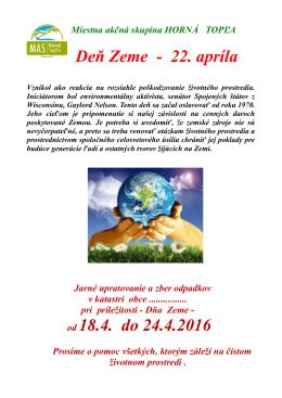 Deň Zeme - 22. apríla od 18.4. do 24.4.2016