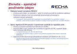 Zhrnutie – spoločné používanie údajov - ECHA