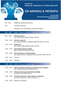 Program konferencie - Úrad priemyselného vlastníctva Slovenskej
