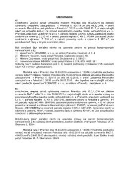 Oznámenie o výsledkoch OVS - apríl 2016