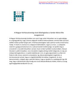 A Magyar Kórházszövetség rövid állásfoglalása a Sándor Mária