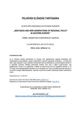 Nemzetközi konferencia - Pécs, 2016. április 7-8.