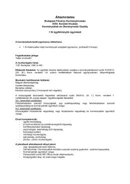 Álláshirdetés - Kormanyhivatal.hu