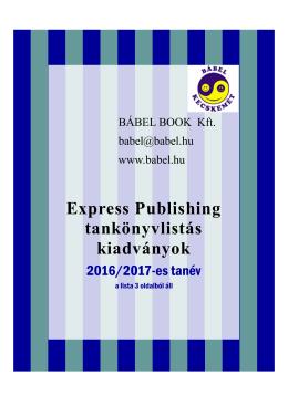 Express P. tankönyvlistás kiadványok 2016-2017