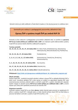 Pozvánka na semináře Úpravy ŠVP v systému InspIS ŠVP po