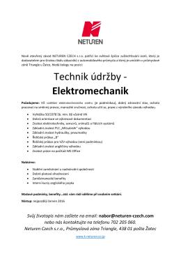 Technik údržby - Elektromechanik
