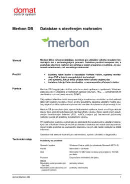 Merbon DB Databáze s otevřeným rozhraním