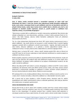 DISKRIMINACE VE ŠKOLSTVÍ MUSÍ SKONČIT Budapešt, Maďarsko