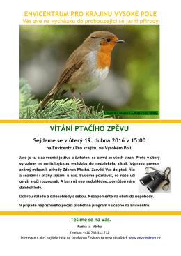vítání ptačího zpěvu - Envicentrum pro krajinu