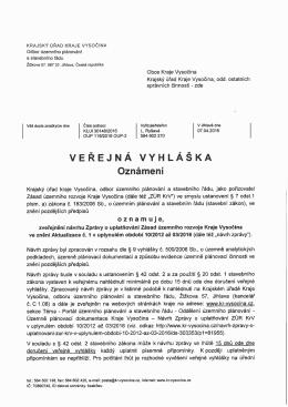 VV - Zásady územního rozvoje Kraje Vysočina