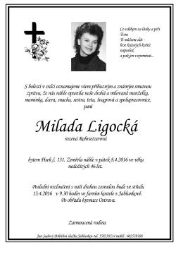 Milada Ligocká - Jan Sadový,Pohřební služba, Jablunkov
