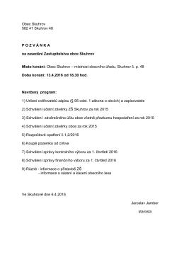 Obec Skuhrov 582 41 Skuhrov 48 P O Z V Á N K A na zasedání