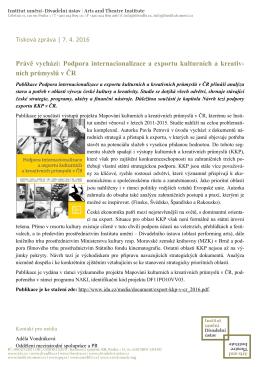 Právě vychází: Podpora internacionalizace a exportu kulturních a