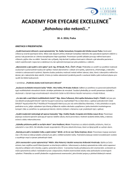 Anotace Academy for Eyecare Excellence 2016