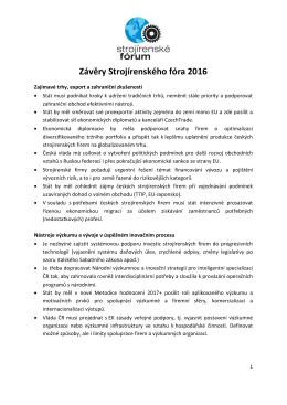 Závěry Strojírenského fóra 2016 - Svaz průmyslu a dopravy České