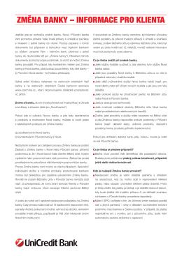 změna banky – informace pro klienta
