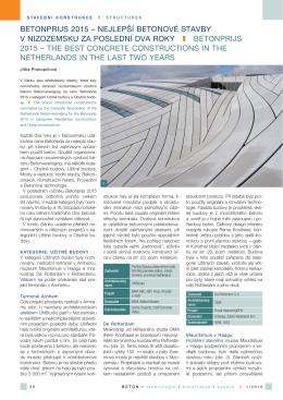 betonprijs 2015 – nejlepší betonové stavby v nizozemsku za