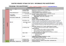 informace pro návštěvníky - Gastro Hradec Vitana Cup 2016