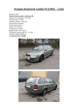Seznam dražených vozidel 15.4.2016 - 1.část