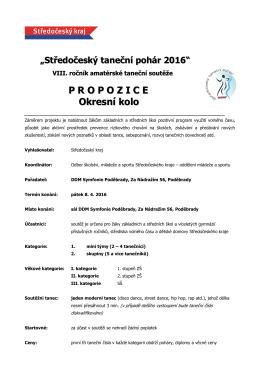 Propozice soutěže - taneční pohár 2016