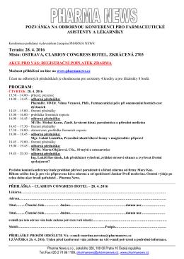 předběžná přihláška na seminář pro farmaceutické laborantky a