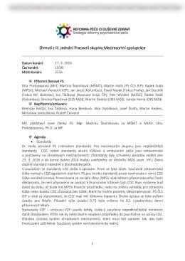 Shrnutí z III. jednání Pracovní skupiny Meziresortní spolupráce