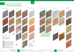 barevné provedení a povrchové úpravy