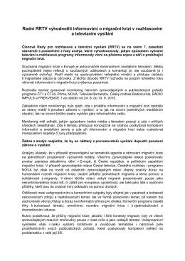 Radní RRTV vyhodnotili informování o migrační krizi v rozhlasovém