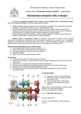 Informační leták o specializaci (2016)