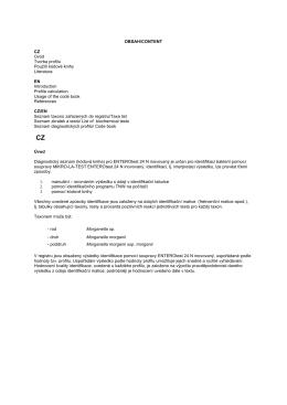 OBSAH/CONTENT CZ Úvod Tvorba profilu Použití kódové knihy